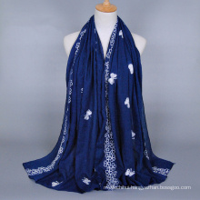 New arrival fashion butterfly embroidery scarf women cotton long scarves and shawls