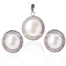 Ensemble de bijoux en eau douce cultivé, boucles d'oreilles perles, pendentif perle
