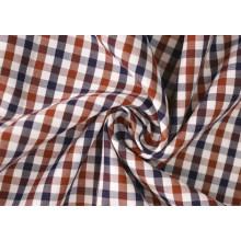 Brown/Navy Check Twill 60 Baumwolle 40 Polyester-Gewebe Shirting