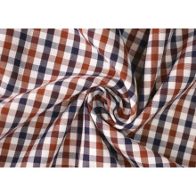Brown/Navy Check Twill 60 coton 40 Polyester tissu pour chemises