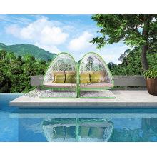 Solarium de jardin extérieur avec tente en rotin PE