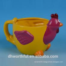 Wholesale ceramic flower pot with cock figurine