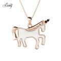 2021 New Design Cute Unicorn Austrian Crystal Pendant Necklace Cartoon Jewelry