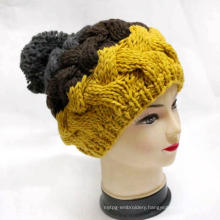 Women Warm Beanie Crocheted Knitted Hat with Pompom