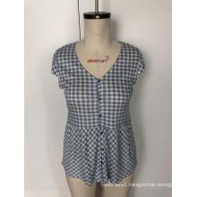 V-neck checked patchwork blouse