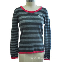 100% Cashmere Striped Pullover Women Knitwear