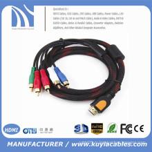 HDMI мужчин 5 аудио RCA аудио компонентный кабель 1,5 мВт / нетто для HDTV DVD-плеер 1080P