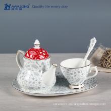 Antikes chinesisches blaues weißes Porzellan Teekanne Tassen Untertassen