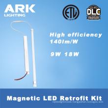UL DLC 2x2 2*4 9W 18W 36W 140lm/w led strip magnetic retrofit for USA market