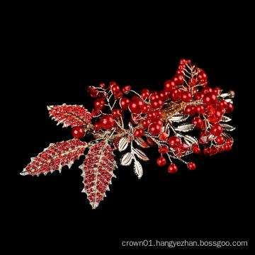 Handmade Freshwater Accessory Jewelry flower headpiece Wholesale wedding bride crystal Red rhinestone pearl hair clip