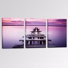 3 Panel Calmness Печать изображения на холсте / Оптовая лаванда Цвет морской стены искусства / деревянный мост холст искусства