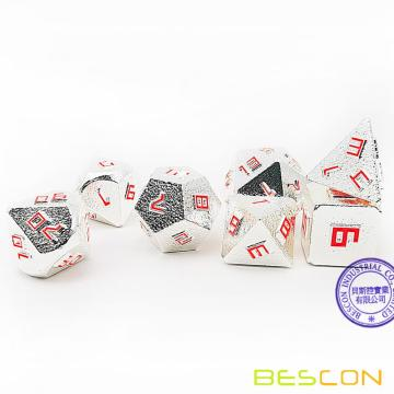 Bescon Silver-Ore Lode Solid Metal Dice Set, Raw Metal Polyhedral D&D RPG 7-Dice Set