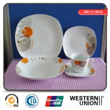 Floral Design Porcelain Dinnerset in Square Shape