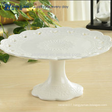 Round Shape Pretty Design Hot Sale Fruit Plate With Foot, Cheap White Ceramic Fruit Plate
