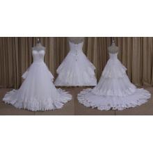 Лы-008 Оптовая Слоя Кружева Тюль Большой Границы Свадебное Платье 2016