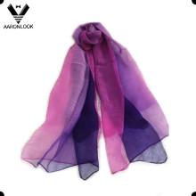 2016 mujeres de alto grado dos tonos de seda y lana gasa bufanda