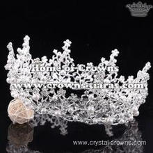 Unique Alloy Round Wedding Tiaras With Pearls