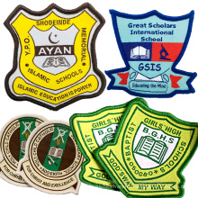 Custom private Name Logo design Border Edge Sew On Iron On labels  Woven Badges For School Company Uniform Clothing