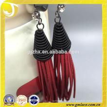 Zhejiang Lieferant Handgefertigte Ohrring Red Leder Quaste Trim