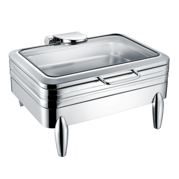 Square stainless steel chafing dish in restaurant