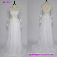 Sexy Ladies Backless Lace Long Sleeve Wedding Dresses