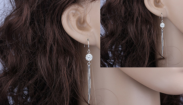Silver Shamballa Hoop Earring For Women