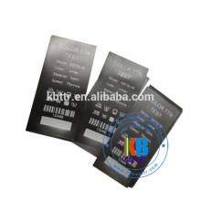 Printed satin fabric clothing care label material
