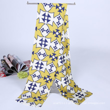 Senhora moda impresso cetim lenço lenço de seda múmia mutifuncional (yky1091-10)