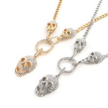 Shangjie OEM joyas Halloween Gift Statement Skull Pendants for Necklace Jewelry Gold Plated Rhinestone Halloween Men Necklace