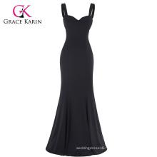 Grace Karin Sexy Black Occident Women's Padded Backless V-Neck Long Mermaid Dress CL008943-1