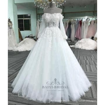 Kleidkleid-Brauthochzeitskleid 2017 der reizvollen langen Hülse Appliqueblume weißes