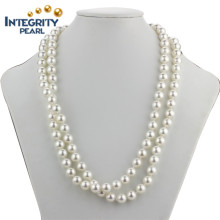 "36 ""Long Shell Pearl Necklace 10 milímetros Perfect Round Sea Shell Pearl Necklace"