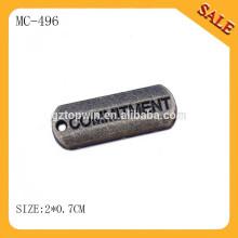 MC496 Оптовая торговля антикварные латунные ювелирные украшения имя очаровывает выполненные на заказ шармы металла