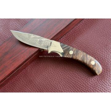 Cuchillo fijo de la manija de madera (SE-0474)