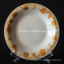 9.25'' ceramic omega soup plate with golden decal