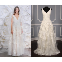 Corded Lace Fit and Flow Ivory Wedding Dress