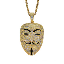 New Ice out Face Pendant Hip Hop Jewellery V for Vendetta Fashion CZ Stone Necklace for Man Women Gift OEM ODM Factory