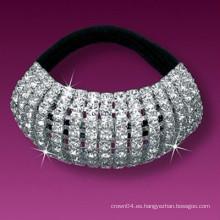 Metal de la manera plateado cristal cubrió vendas elásticos del pelo