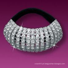 Moda metal banhado a prata cristal coberto bandas de cabelo elástico