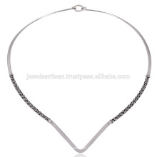 925 plata hecho a mano simplemente diseñador hermoso collar de damas