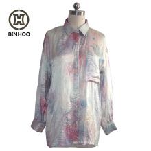 OEM factory service long sleeve of lady single pocket satin blouses