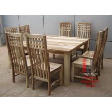 Juego de comedor de madera natural