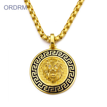 Hip Hop Mens Gold Lion Head Hängsmycke Halsband