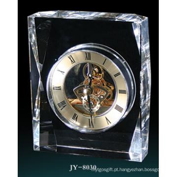 Relógio de mesa de cristal simples relógio de decoração de vidro