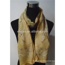 100% lana impresa bufanda para la primavera y el otoño