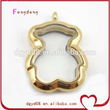 Fashion stainless steel Teddy Bear openable floating living memory locket pendant for christmas