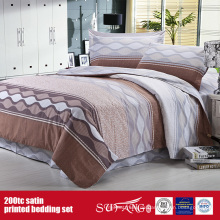 100% Baumwolle 200TC Satin gedruckt Bettwäsche Set Hotel Supply Company