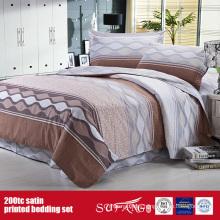 100%Cotton 200TC Satin Printed Bedding Set Hotel Supply Company