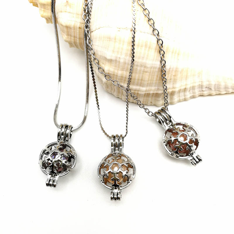 Snow Ball Pendant Necklace