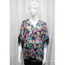 Senhora moda flor impressa poliéster chiffon com franjas de seda t-shirt (yky2222)